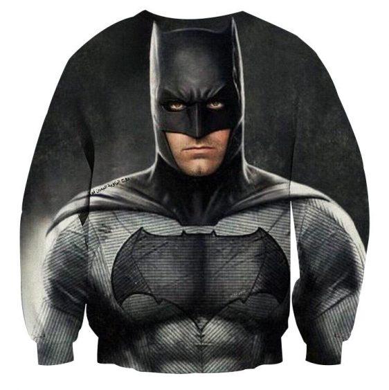 Realistic Batman Portrait In Cool Full Print Black Sweatshirt