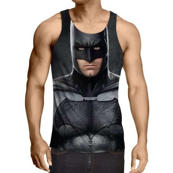 Realistic Batman Portrait In Cool Full Print Black Tank Top