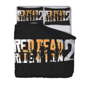 Red Dead Redemption II Silhouette Black Yellow Bedding Set
