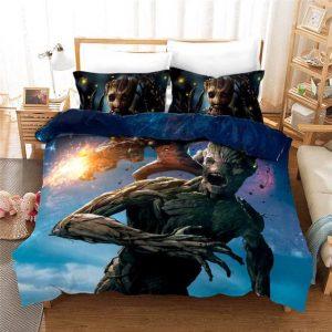Rocket Raccoon And Groot Team War Scene Bedding Set