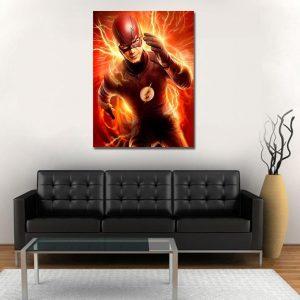Running Flash Orange Lightning Effects 1pc Wall Art Canvas