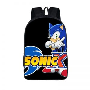 Sega Sonic X Cool Anime Simple Black Backpack Bag