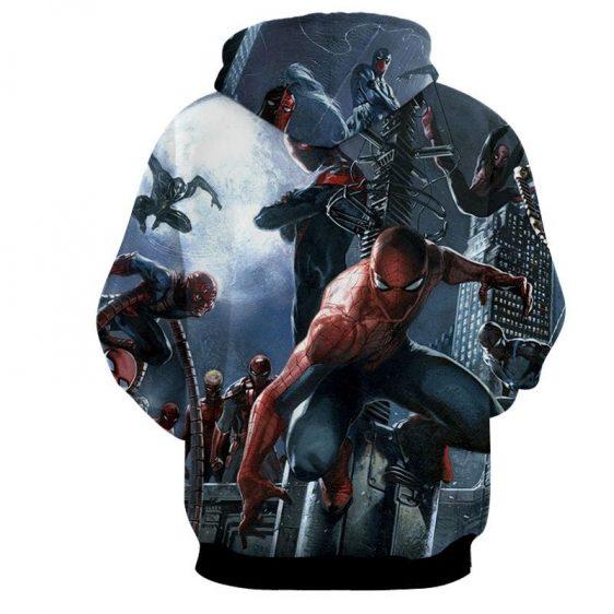 Spider-Man And The Villains Design Full Print Design Hoodie