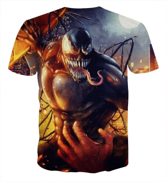 Spider-Man Fight With Carnage Design Full Print T-Shirt