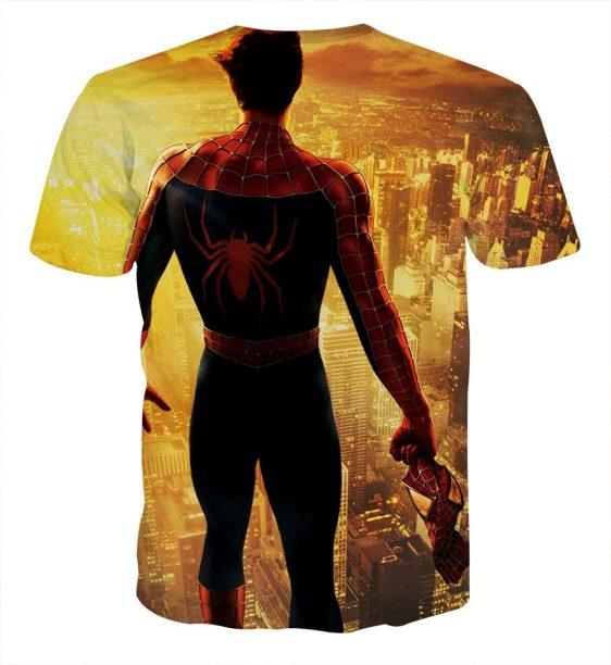 Spider-Man Overlooking City Lights Full Print T-Shirt