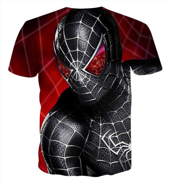 Spider-Man in Black Suit Style Full Print T-Shirt