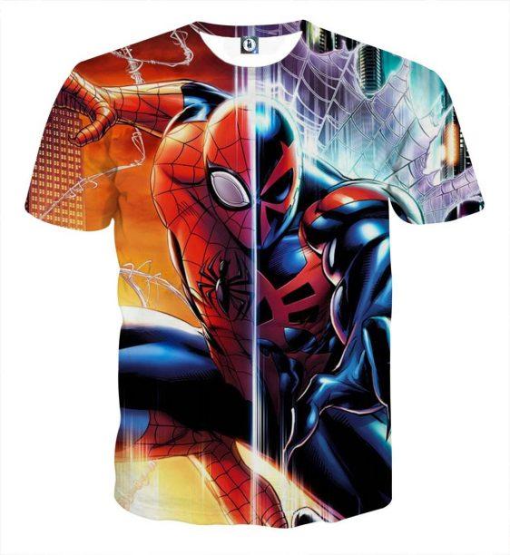 Spiderman Half Kaine Two Sides Design Full Print T-Shirt