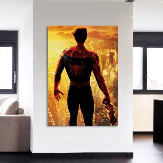 Spiderman Overlooking City Lights Portrait 1pcs Canvas Print