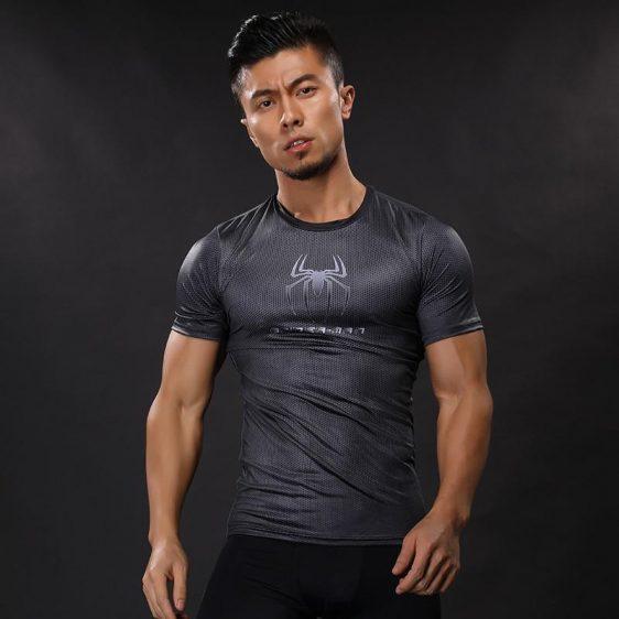 Spiderman Superhero Logo 3D Printed Compression Short Sleeves Fitness T-shirt