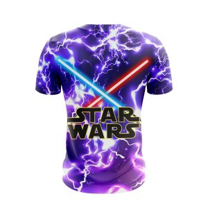 Star Wars Logo With Red & Blue Lightsaber Purple T-Shirt