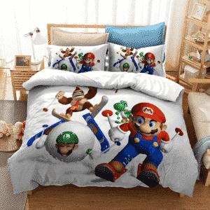 Super Mario Marie Luigi Kong Yoshi White Snow Bedding Set