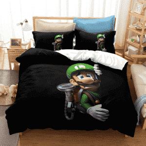 Super Mario Scared Luigi Minimalistic Black Bedding Set