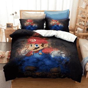 Super Mario Serious Mario Dope Painting Black Bedding Set