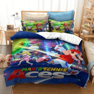 Super Mario Tennis Aces Sporty Mario and Peach Bedding Set