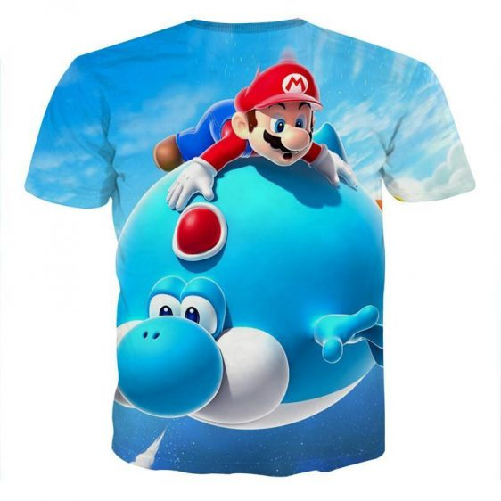 Super Mario Blue Yoshi Fly Cute Trendy Gaming T-Shirt