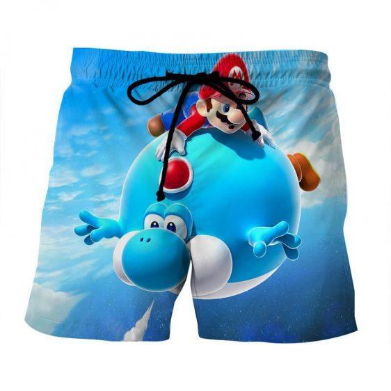Super Mario Blue Yoshi Fly Cute Trendy Gaming Urban Shorts