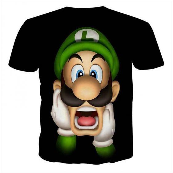 Super Mario Bros Luigi Frighten Funny Gaming Design T-Shirt