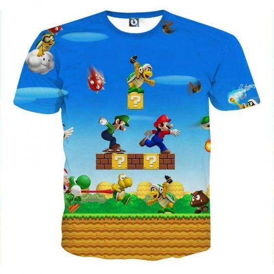 Super Mario Bros Luigi Monster Scene Vibrant Game T-Shirt