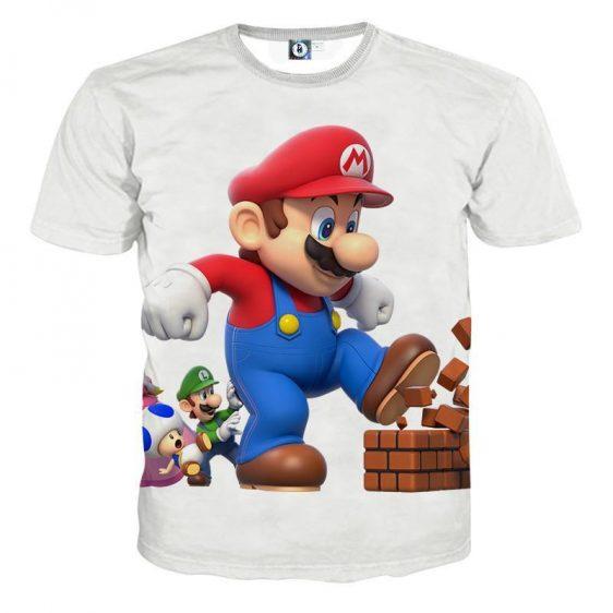 Super Mario Bros Luigi Toad Funny Kick Brick T-Shirt