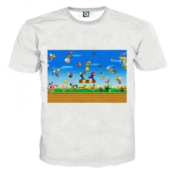 Super Mario Bros Luigi Yoshi Game Scene Vintage T-Shirt