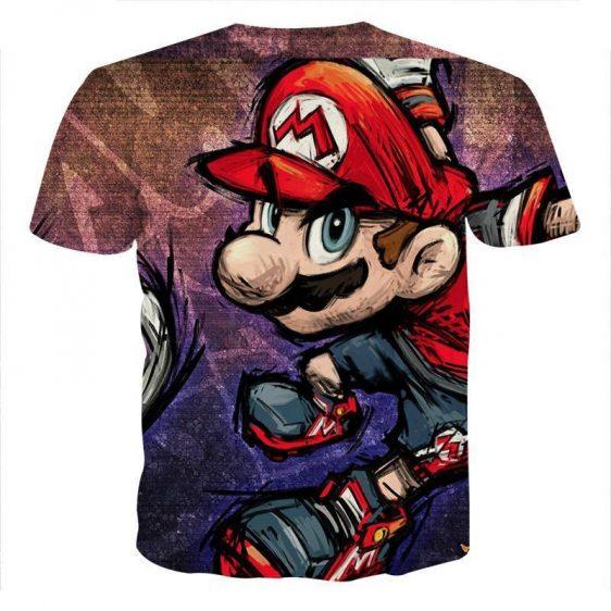 Super Mario Cartoon Sketch Cool Style Hip-Hop Design T-Shirt