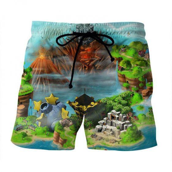 Super Mario Castle Defender Game Color Design Beach Shorts