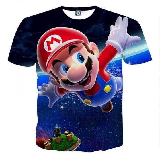 Super Mario Galaxy Awesome 3D Model Full Printed T-Shirt