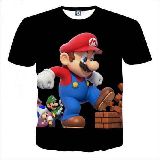 Super Mario Giant Luigi Bros Toad 3D Design Print T-Shirt