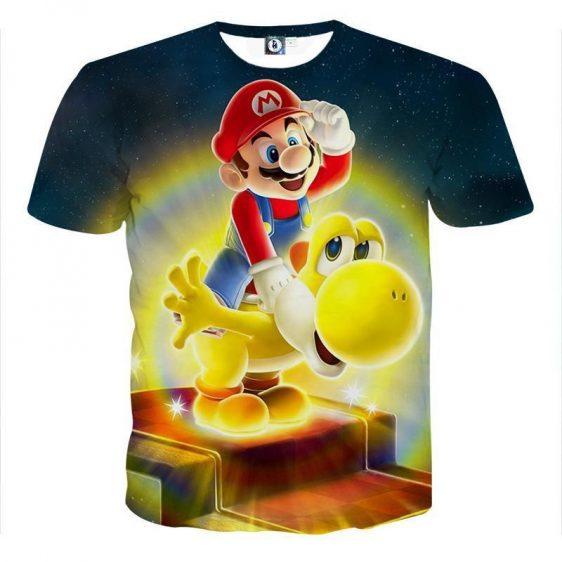 Super Mario Golden Yoshi 3D Design Game Art T-Shirt