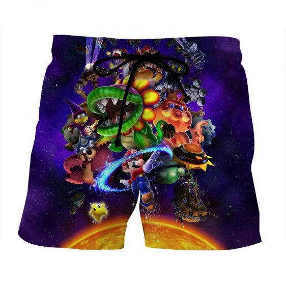 Super Mario Skyship Bowser Monster Vibrant Print Shorts