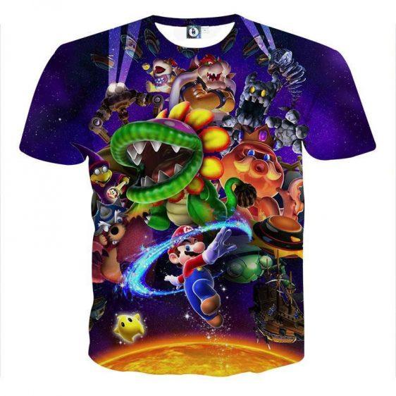 Super Mario Skyship Bowser Monster Vibrant Print T-Shirt