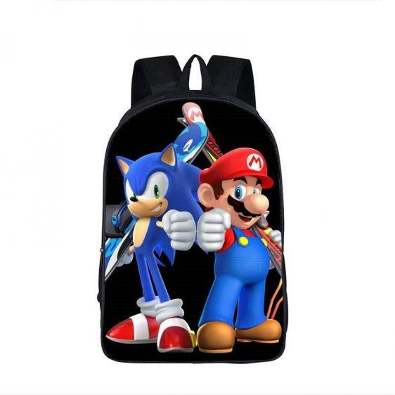 Super Mario Sonic The Hedgedog Cool Black Backpack Bag