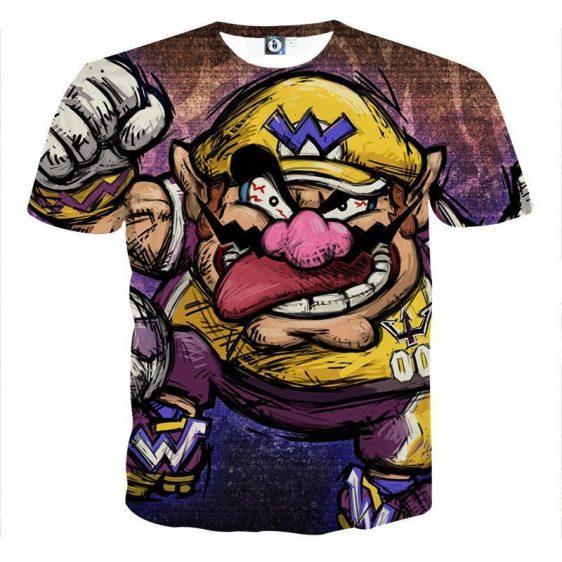 Super Mario Wario Madness Villain Cartoon Sketch T-Shirt