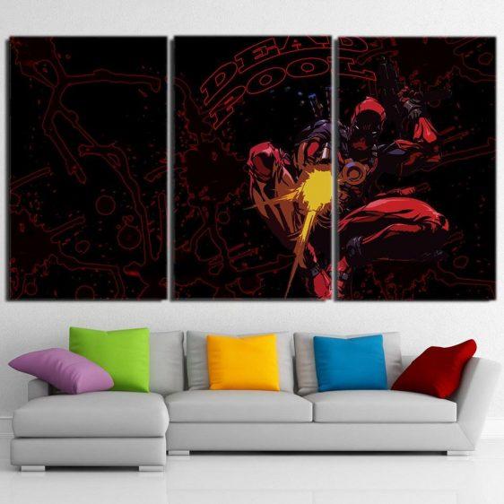 Superhero Deadpool Fighting Battles 3pcs Wall Canvas Print