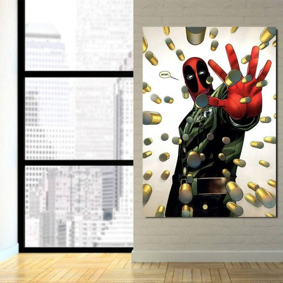 Superhero Deadpool Rain Of Bullets Portrait 1pcs Art Canvas