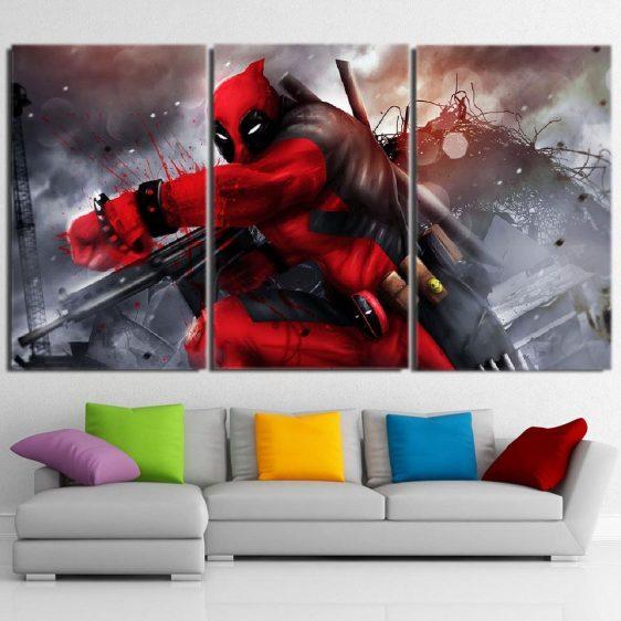 Superhero Deadpool Ready For Battle 3pcs Wall Canvas Print