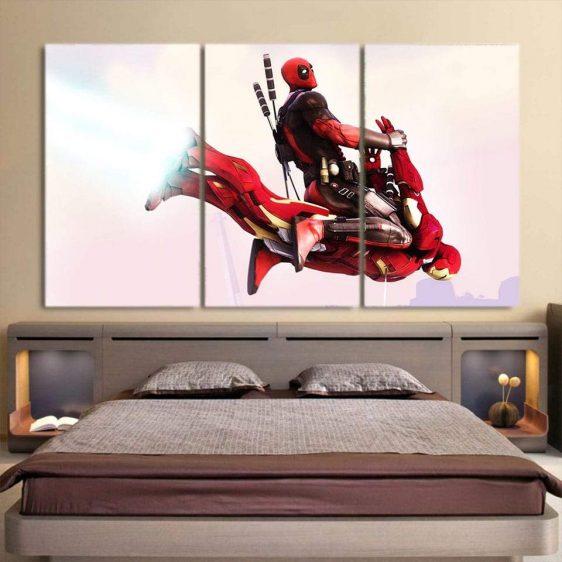 Superhero Deadpool Riding The Wicked 3pcs Wall Canvas Print