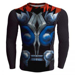 Superhero Thor Full Print Long Sleeves Gym Compression T-shirt