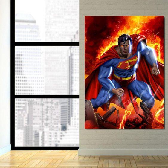 Superman Is On Fire Portrait Design 1pcs Canvas Print
