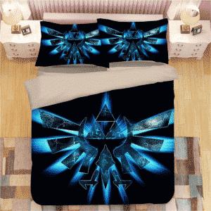 The Legend of Zelda Blue Wings Minimalistic Black Bedding Set