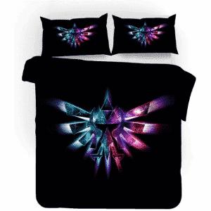 The Legend of Zelda Colorful Symbol Pitch Black Bedding Set