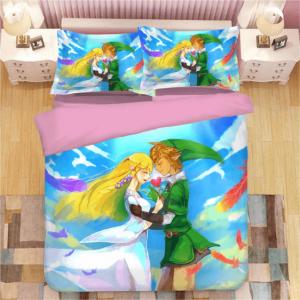 The Legend of Zelda Link and Zelda Sky Blue Bedding Set