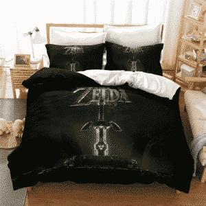 The Legend of Zelda Master Sword Black Green Bedding Set