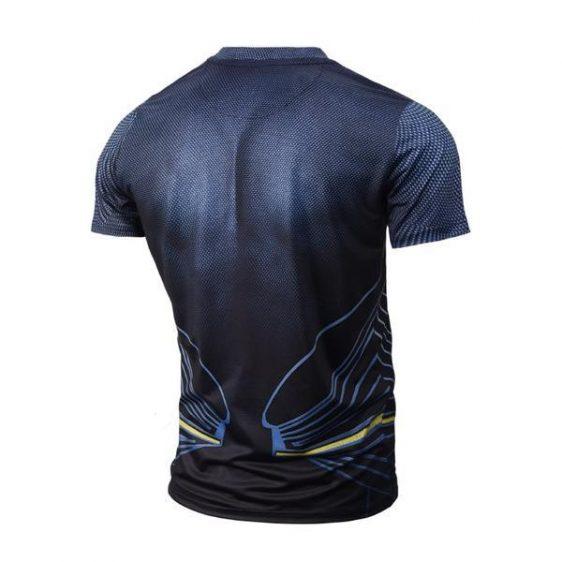 Marvel Superman Logo Blue Short Sleeves Compression T-Shirt