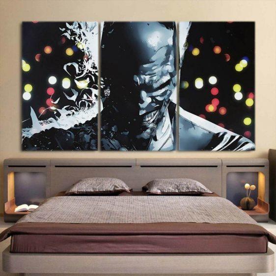 The Clown At Midnight Joker Design 3pcs Wall Canvas Print