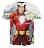 The Cool Captain Marvel Shazam With Left Arm Armor T-Shirt