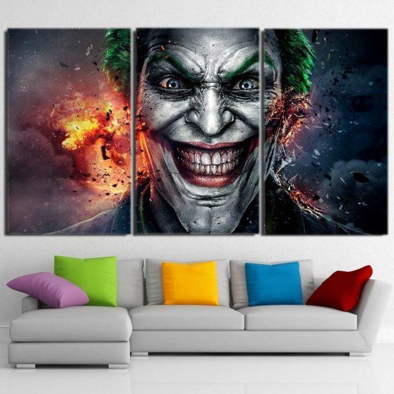 The Crazy Ridiculous Joker Face 3pcs Wall Art Canvas Print
