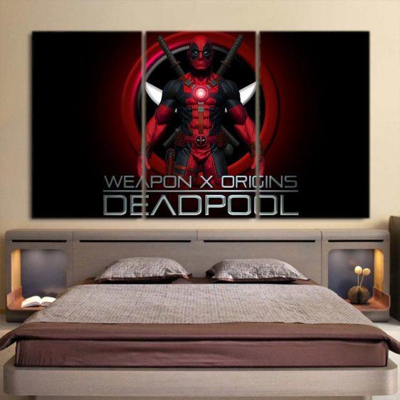 The Deadpool Weapon X Origins 3pcs Wall Art Canvas Print