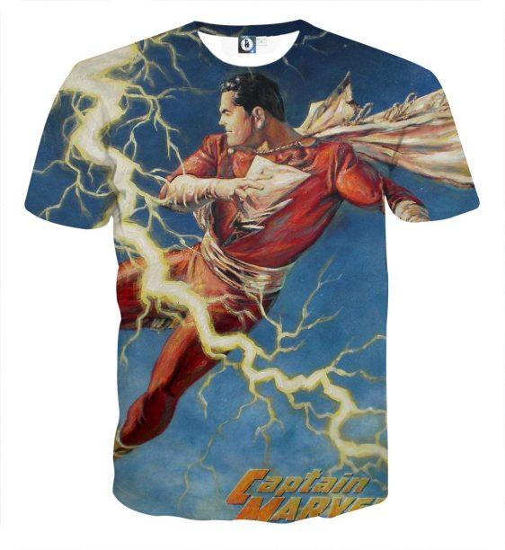 The Ferocious Captain Marvel Shazam Flying Kick T-Shirt