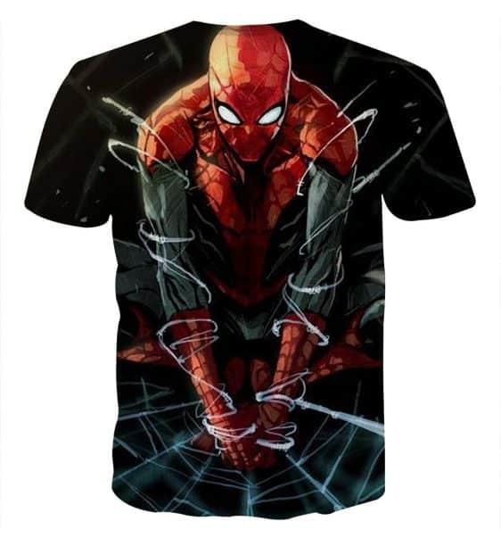 The Fierce Spider-Man 3D Design Short Sleeves T-Shirt